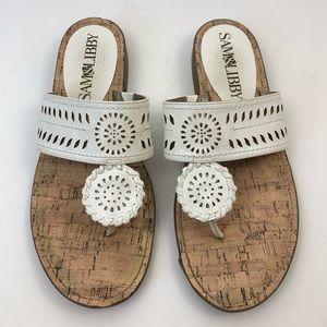 Sam & Libby Tibby Whipstitch Thong Sandals White